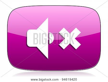 speaker volume violet icon music sign original modern design for web and mobile app on white background with reflection