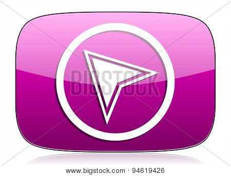 navigation violet icon  original modern design for web and mobile app on white background with reflection