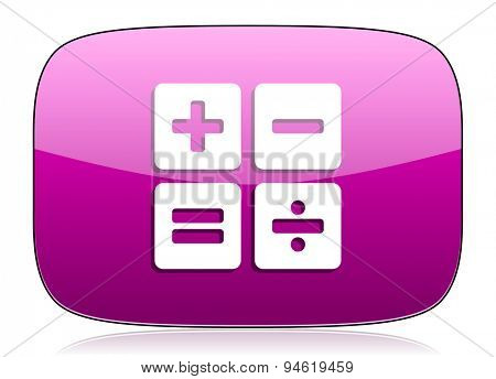 calculator violet icon calc sign original modern design for web and mobile app on white background with reflection