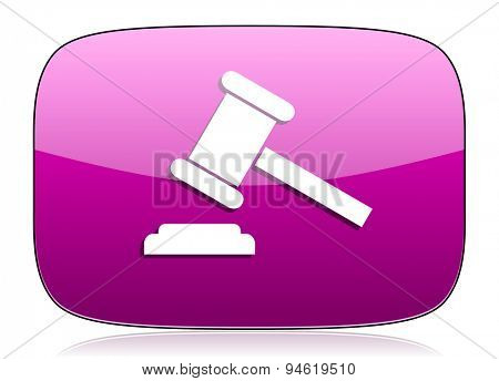 auction violet icon court sign verdict symbol original modern design for web and mobile app on white background with reflection