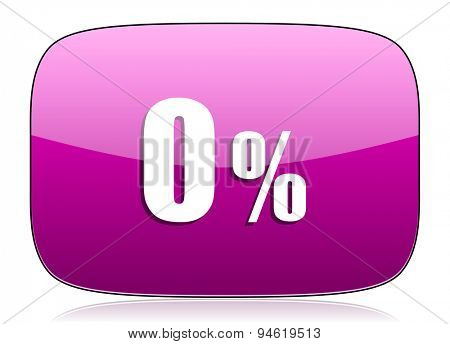 0 percent violet icon sale sign original modern design for web and mobile app on white background with reflection