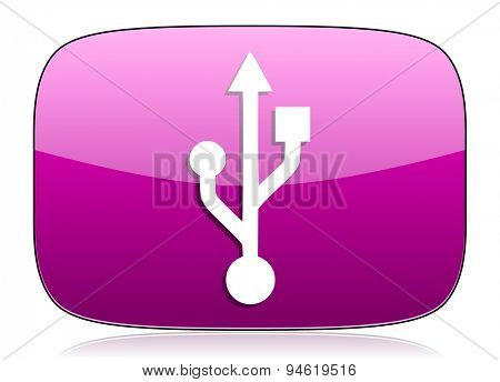 usb violet icon flash memory sign original modern design for web and mobile app on white background with reflection