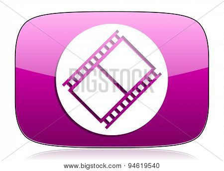 film violet icon movie sign cinema symbol original modern design for web and mobile app on white background with reflection