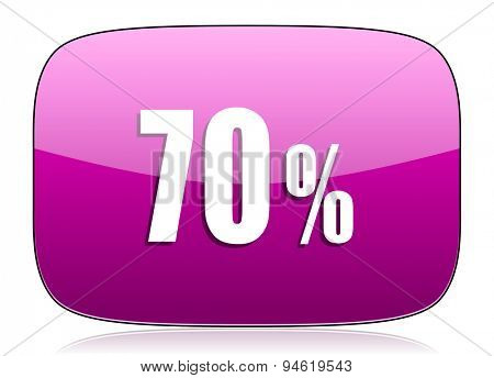 70 percent violet icon sale sign original modern design for web and mobile app on white background with reflection
