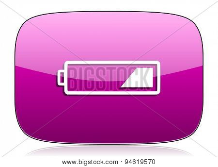 battery violet icon charging symbol power sign original modern design for web and mobile app on white background with reflection