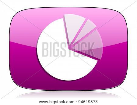 diagram violet icon graph symbol original modern design for web and mobile app on white background with reflection