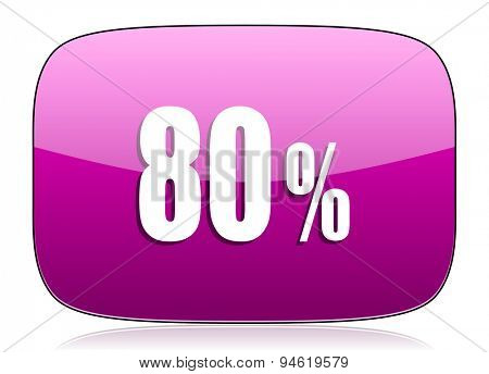 80 percent violet icon sale sign original modern design for web and mobile app on white background with reflection