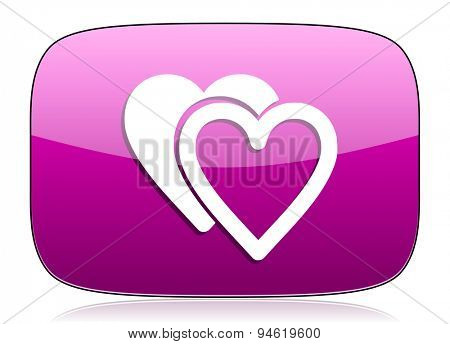 love violet icon sign hearts symbol original modern design for web and mobile app on white background with reflection