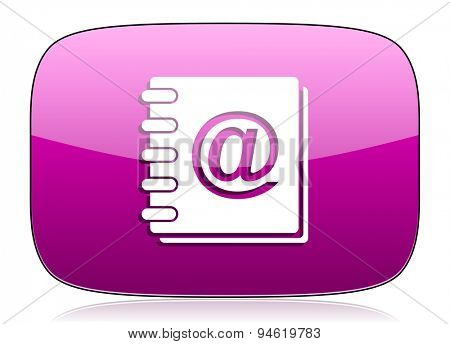 email violet icon  original modern design for web and mobile app on white background with reflection