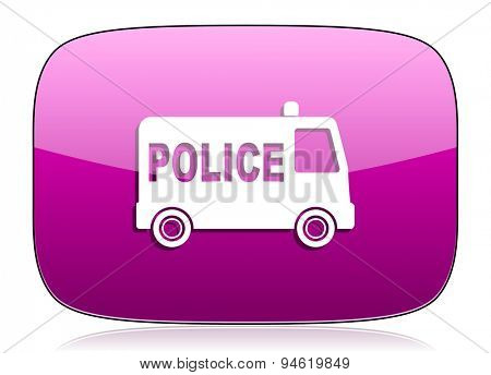 police violet icon  original modern design for web and mobile app on white background with reflection