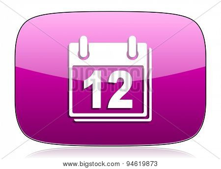 calendar violet icon organizer sign agenda symbol original modern design for web and mobile app on white background with reflection
