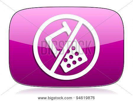 no phone violet icon no calls sign original modern design for web and mobile app on white background with reflection