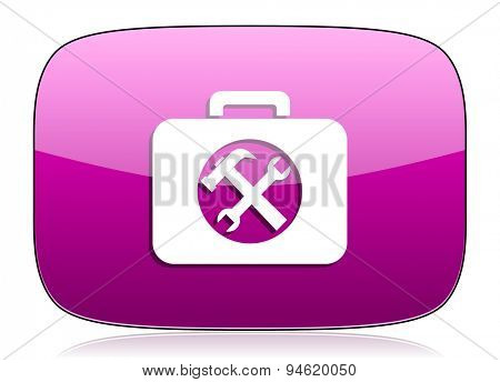 toolkit violet icon service sign original modern design for web and mobile app on white background with reflection
