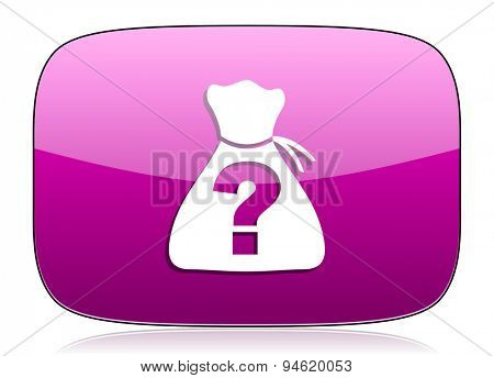 riddle violet icon  original modern design for web and mobile app on white background with reflection