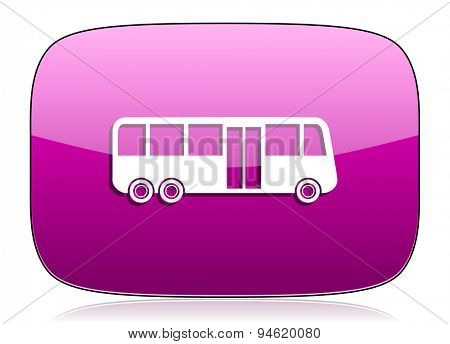 bus violet icon public transport sign original modern design for web and mobile app on white background with reflection