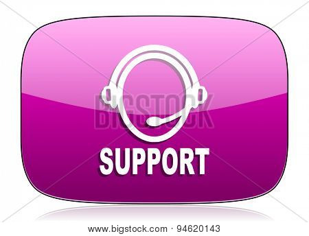 support violet icon  original modern design for web and mobile app on white background with reflection