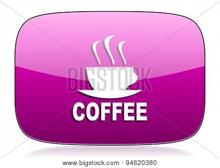 espresso violet icon hot cup of caffee sign original modern design for web and mobile app on white background with reflection