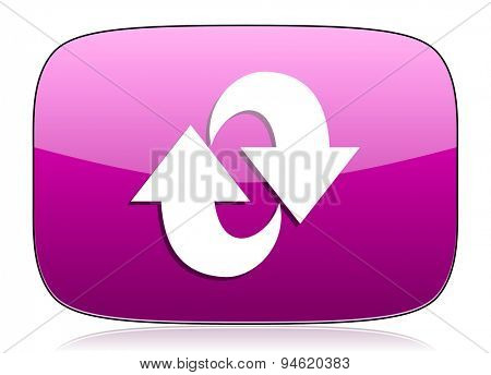 rotation violet icon refresh sign original modern design for web and mobile app on white background with reflection