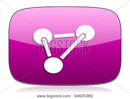 chemistry violet icon molecule sign original modern design for web and mobile app on white background with reflection