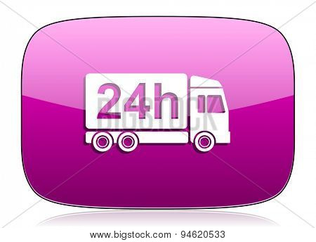 delivery violet icon 24h shipping sign