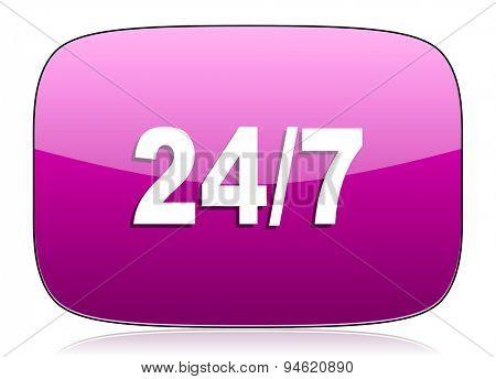 24/7 violet icon