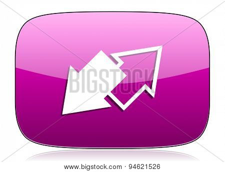 exchange violet icon  original modern design for web and mobile app on white background with reflection