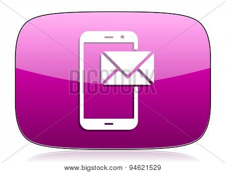 mail violet icon post sign original modern design for web and mobile app on white background with reflection