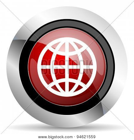earth red glossy web icon original modern design for web and mobile app on white background