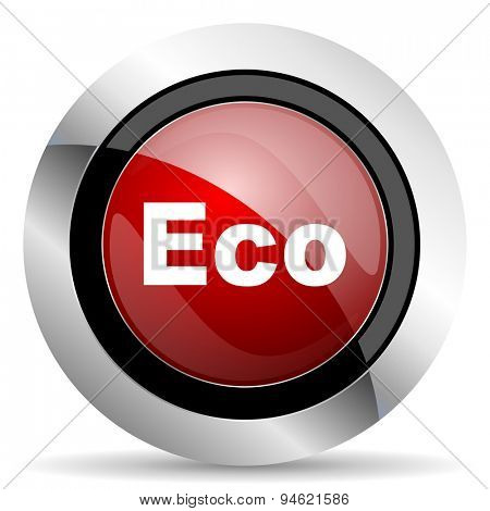 eco red glossy web icon original modern design for web and mobile app on white background