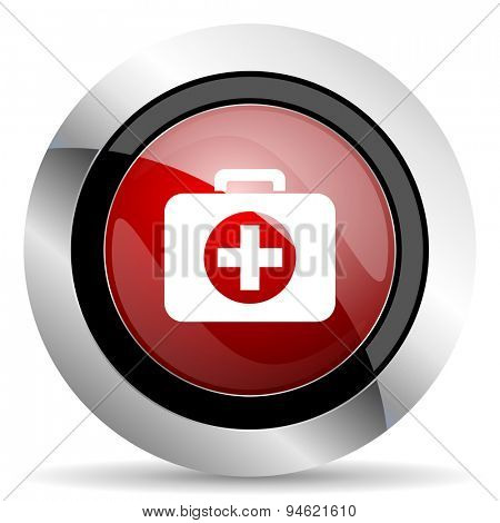 first aid red glossy web icon original modern design for web and mobile app on white background