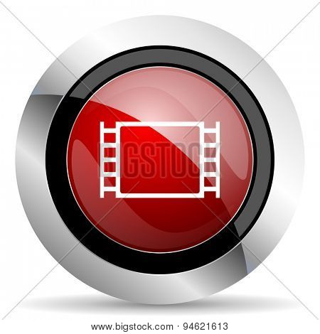 movie red glossy web icon original modern design for web and mobile app on white background