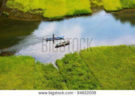 Rice field and river in TamCoc, NinhBinh, Vietnam