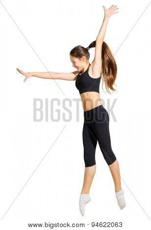 Modern dancer girl isolated on white