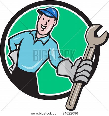 Mechanic Presenting Wrench Circle Cartoon