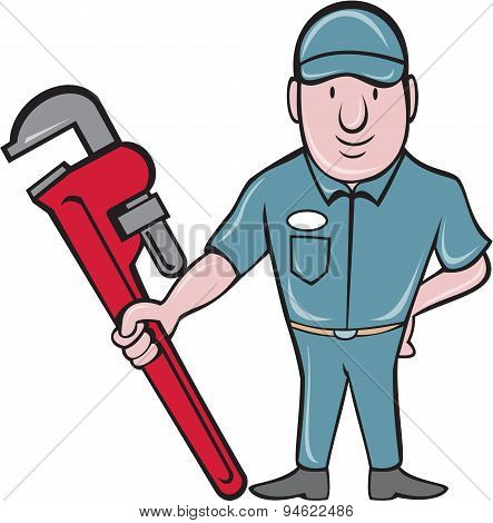 Plumber Standing Attention Wrench Cartoon