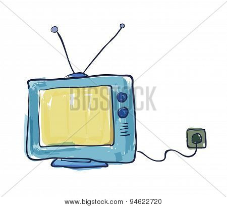 Old Television Drawing