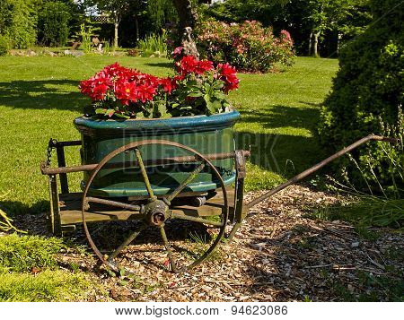 Garden Decor In Old Wagon