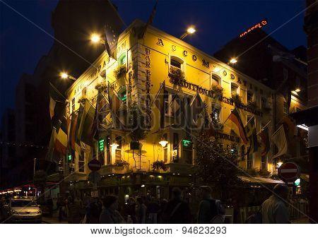 Evening street in the center of Dublin.