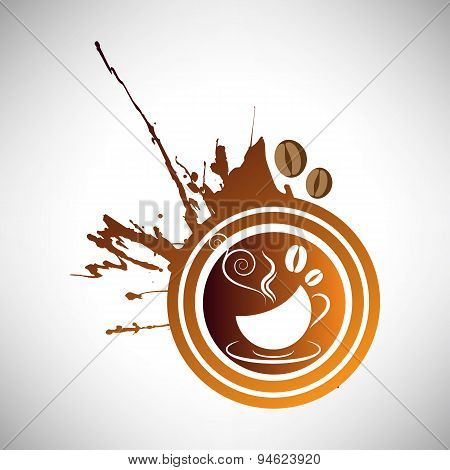 Vector illustration grunge coffee, cup and grain logotype