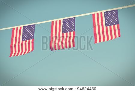 Usa Flags Hanging Prowdly For July 4 Independance Day
