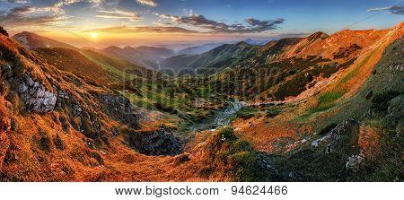 Panorama Mountain With Sun, Vratna Valley, Slovakia