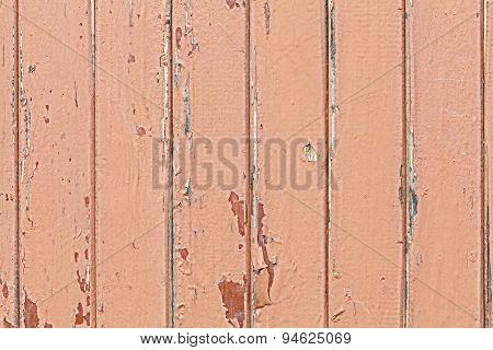 Old Wooden Door With Paint Peeling.