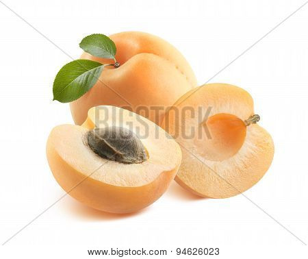 Whole Apricot And Two Halves 2 Isolated On White Background