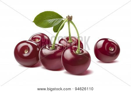 Glossy Wild Cherries Raw Isolated On White