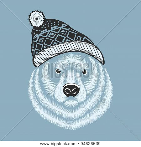 Illustration of bear hipster in knitted hat with jacquard pattern.