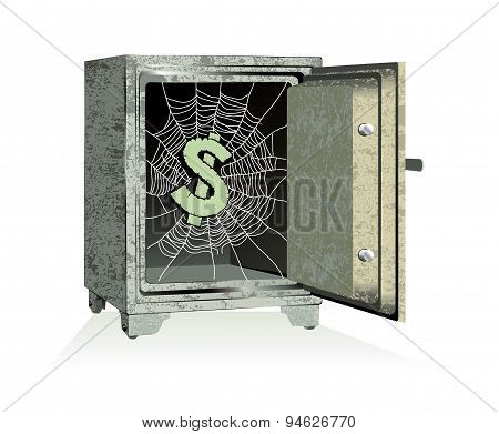 Dollar Sign On Spiderweb Inside Of An Open Safe