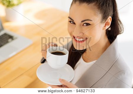Enjoying Cup Of Coffee
