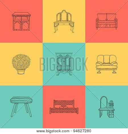 Set of illustrations for home furniture.