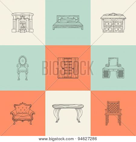Illustrations of home furnishings.