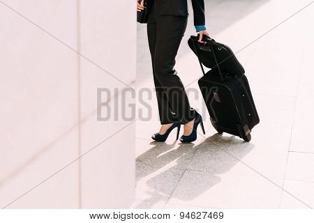 Business Lady With Luggage